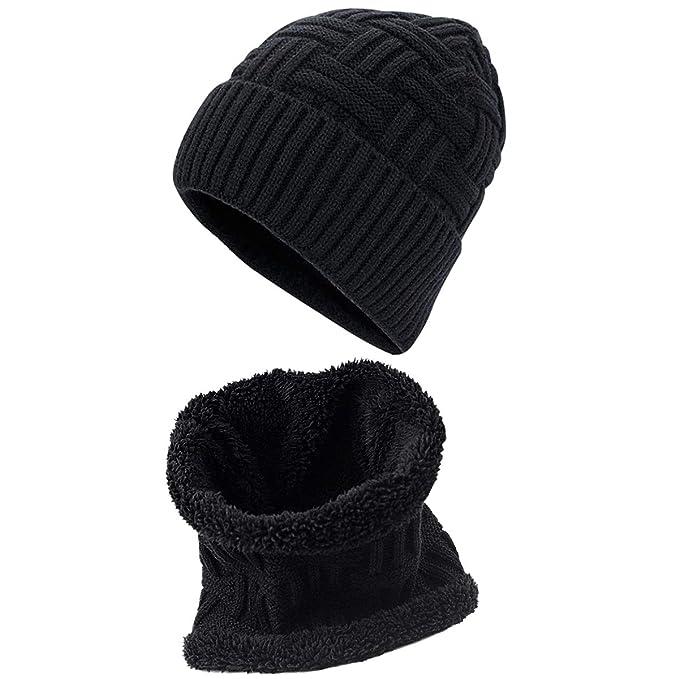 Dokpav Cappello Uomo Invernale 2 Pezzi Set Berretto con Sciarpa Berretti  Uomo Invernali Cappello da Sci 8b7e601365ff