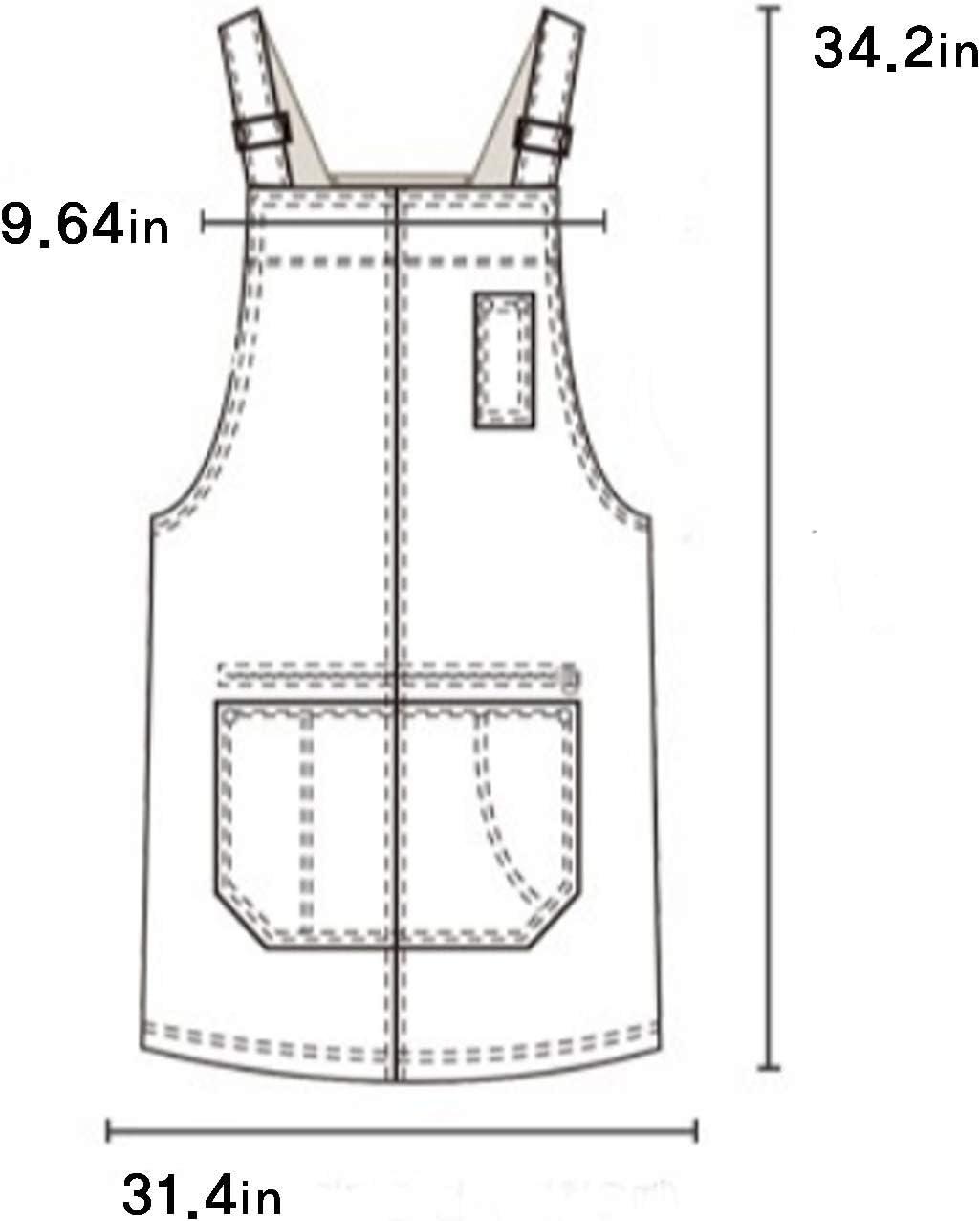 A PACKMAN Unisex Pocket Denim Cotton Apron Zipper Comfortable Cotton Adjustable Strap