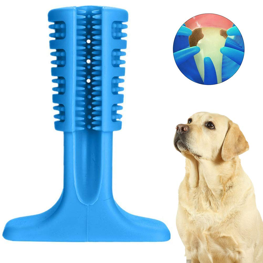 Dog Tooth Cleaning Brushing Toy, Effective Large Dog Toothbrush Chew Toys Brushing Stick, Safety Rubber Pet Molars Toy for Dogs Pets Dental Oral Care(bluee)