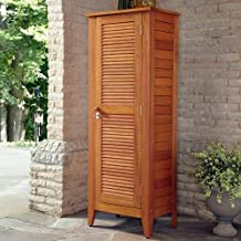 1-Door Multi-Purpose Outdoor Storage Cabinet, Eucalyptus w/ 4 Removable Shelves