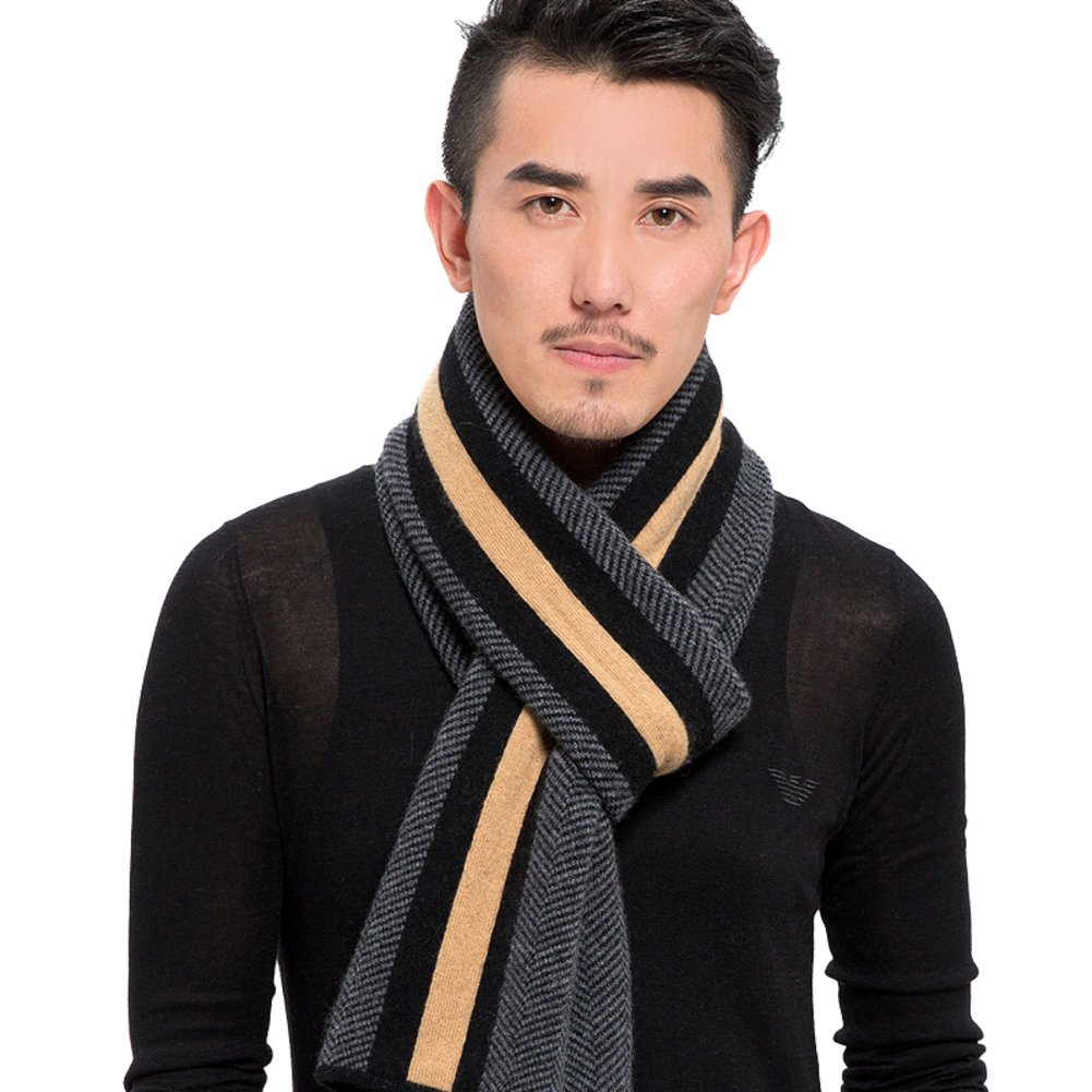 Thick long men's scarf mixed-wool-knit stripe scarf in England-B One Size