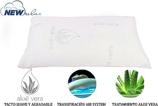 NEW RELAX Almohada viscoelástica Copos 70 cm - Tejido Aloe Vera ...