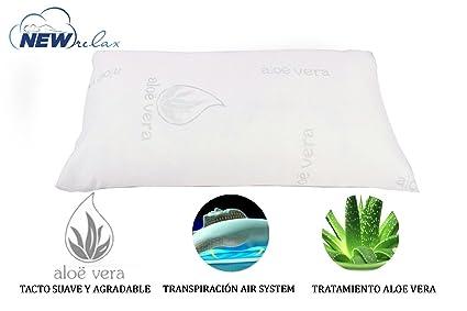 NEW RELAX Almohada viscoelástica Copos 70 cm - Tejido Aloe Vera con Hilo de Plata y Doble Funda + Estuche DE Viaje.: Amazon.es: Hogar