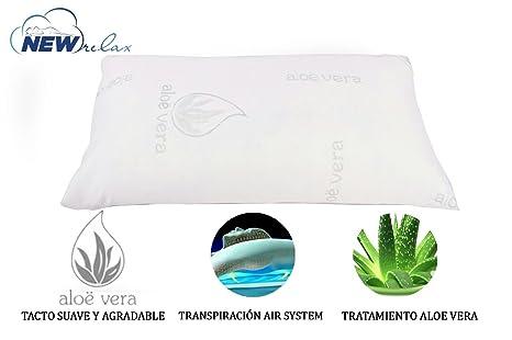 NEW RELAX Almohada viscoelástica Copos 70 cm - Tejido Aloe Vera con Hilo de Plata y