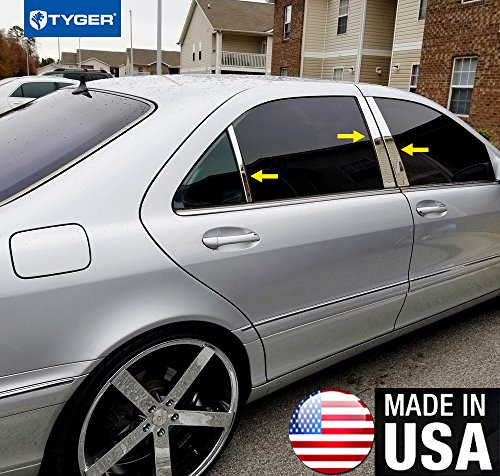 Made in USA! Works with 1998-2006 Mercedes-Benz S Class 6PC Stainless Steel Chrome Pillar Post Trim
