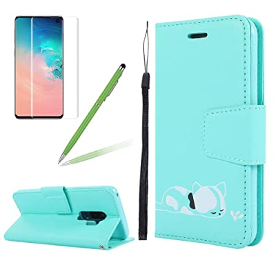 Strap Leather Case for Samsung S9 Plus,Folio Flip Wallet Case for Samsung S9 Plus [Green Solid Color],Girlyard Stylish Cute 3D Embossed Cat Pattern with Card Slots Magnetic Fold Stand Phone Cover: Electronics