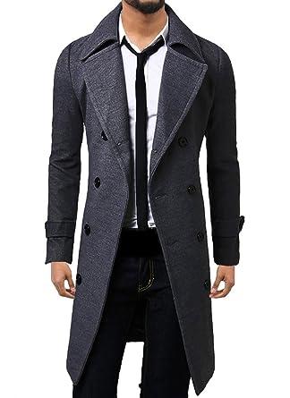 WSLCN Homme Classique Manteau Longue Split Lapel Double Boutonnage Blouson  Belted Chaud Veste Trench Coat Gris 49631993848a