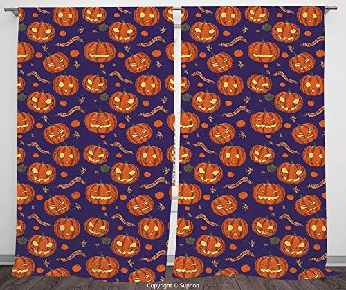 Rod Pocket Curtain Panel Polyester Translucent Curtains for Bedroom Living Room Dorm Kitchen Cafe/2 Curtain Panels/108 x 72 Inch/Halloween,Pumpkins Pattern Different Face Expressions Happy Angry Scary