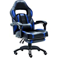 JL Comfurni Well Padded Footrest and Lumbar Cushion Gaming Chair, Adjustable Height, High Back Heavy Duty Home Office Computer Desk Chair PU Leather Recliner Sport Racing Chair