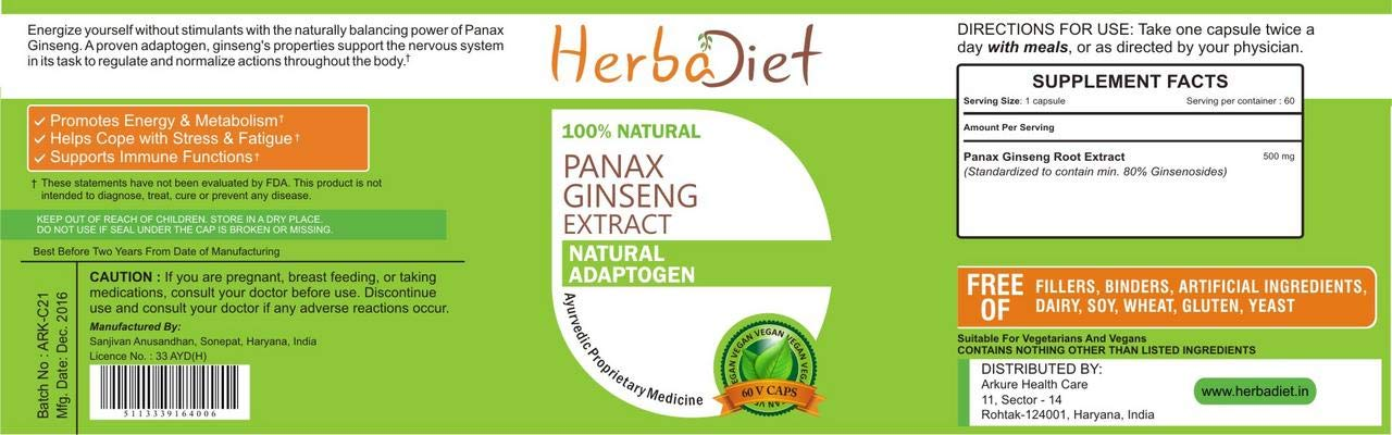 Korean Red Panax Ginseng Root Extract 80% Ginsenosides Capsules Boosts Energy (5 Capsules)