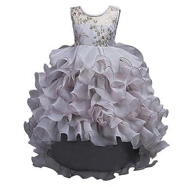 95c956770e6df4 IWEMEK Mädchen Kinder Brautjungfern High-Low Prinzessin Kleid  Blumenmädchenkleider für Hochzeit Pageant Kommunion Ballkleid Tanz  Geburtstag Party ...