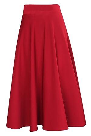 042002d7a1d FEOYA Femme Jupe Plissée Longue Été Automne Jupe Rouge Haute Taille Casual  Élégante Jupe Parapluie pour