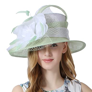 Koola s hats Women Sinamay Sun Hat Wedding Hats Derby Ascot Race Mint ab70dbb0811