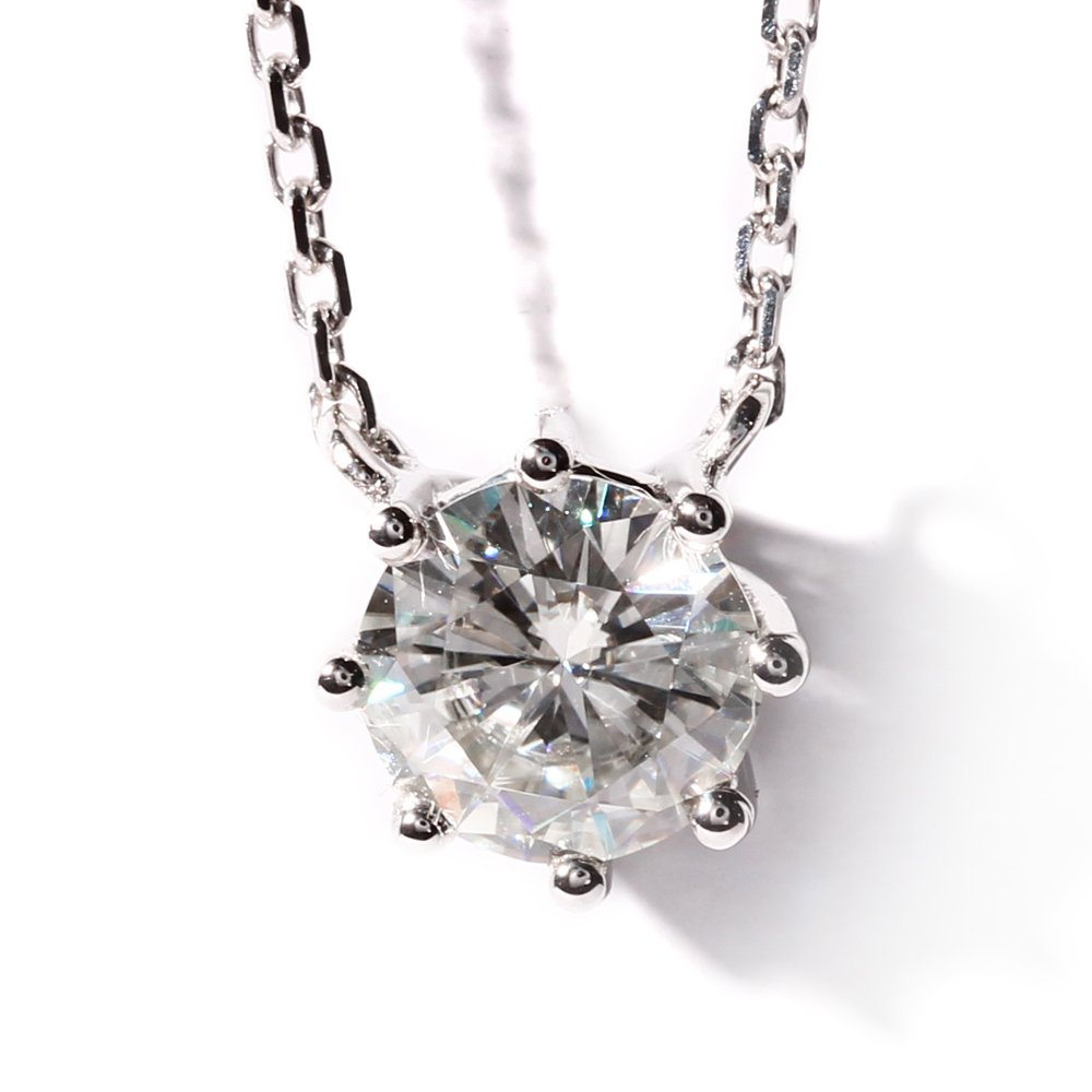 TransGems 1 Carat Moissanite Simulated Diamond Solitaire Pendant Necklace 18K White Gold for Women (F Color)