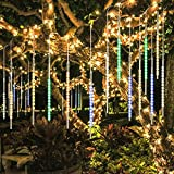 BlueFire Upgraded 50cm 10 Tubes 540 LED Meteor Shower Rain Lights, Drop/Icicle Snow Falling Raindrop Cascading Lights for Wedding Party Christmas New Year Garden Tree Home Decor (Multicolor)