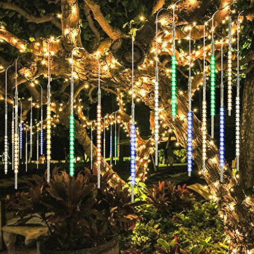 Christmas Tree Decor (BlueFire Upgraded 50cm 10 Tubes 540 LED Meteor Shower Rain Lights, Drop/Icicle Snow Falling Raindrop Cascading lights for Wedding Party Christmas New Year Garden Tree Home Decor (Multicolor))