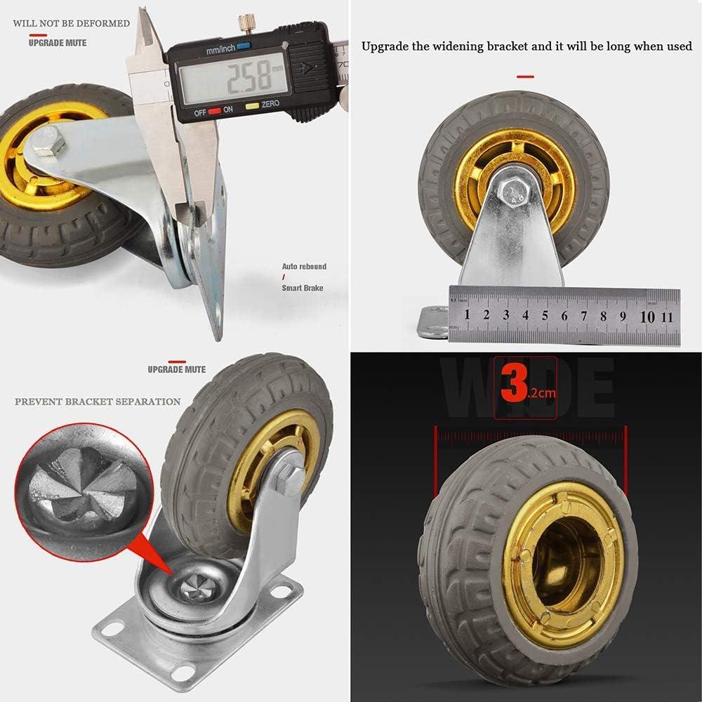 YZZR roulettes Pivotantes,Roues Plaques industrielles Transport,avec Frein Charge 800kg,Roulette de Meubles,Doubles Roulements ,Lot de 4 75//100mm