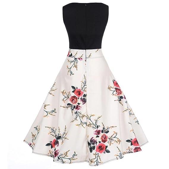 Ba Zha Hei de Vestido Estampado de Cintura Vintage Hepburn para Mujer Vestidos Mujer Casual Moda Vestidos Cortos Sin Mangas Vestido Exótico para Mujer ...