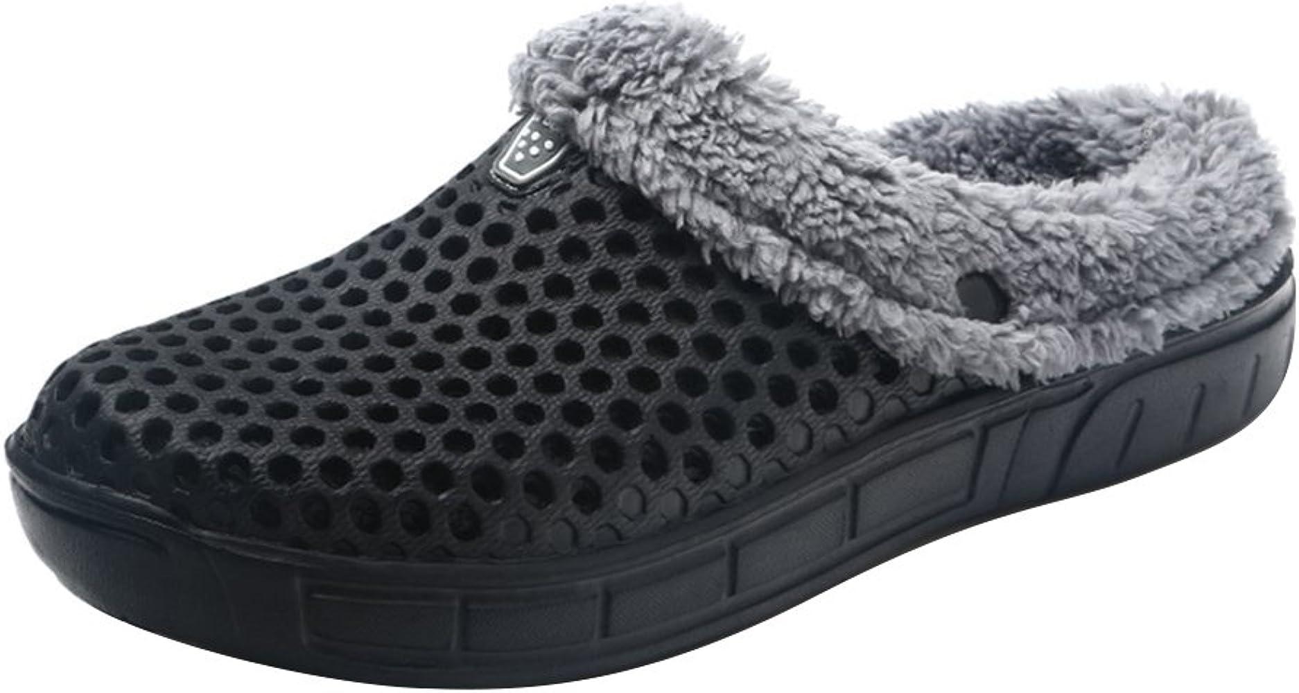Hombres Mujer Mulas Zuecos Zapatos Resbalón En Jardín Zapatos Casa Zapatilla Redondo Dedo del Pie Forrado En Caliente Invierno Zapatillas Negro 37 Kootk: Amazon.es: Zapatos y complementos