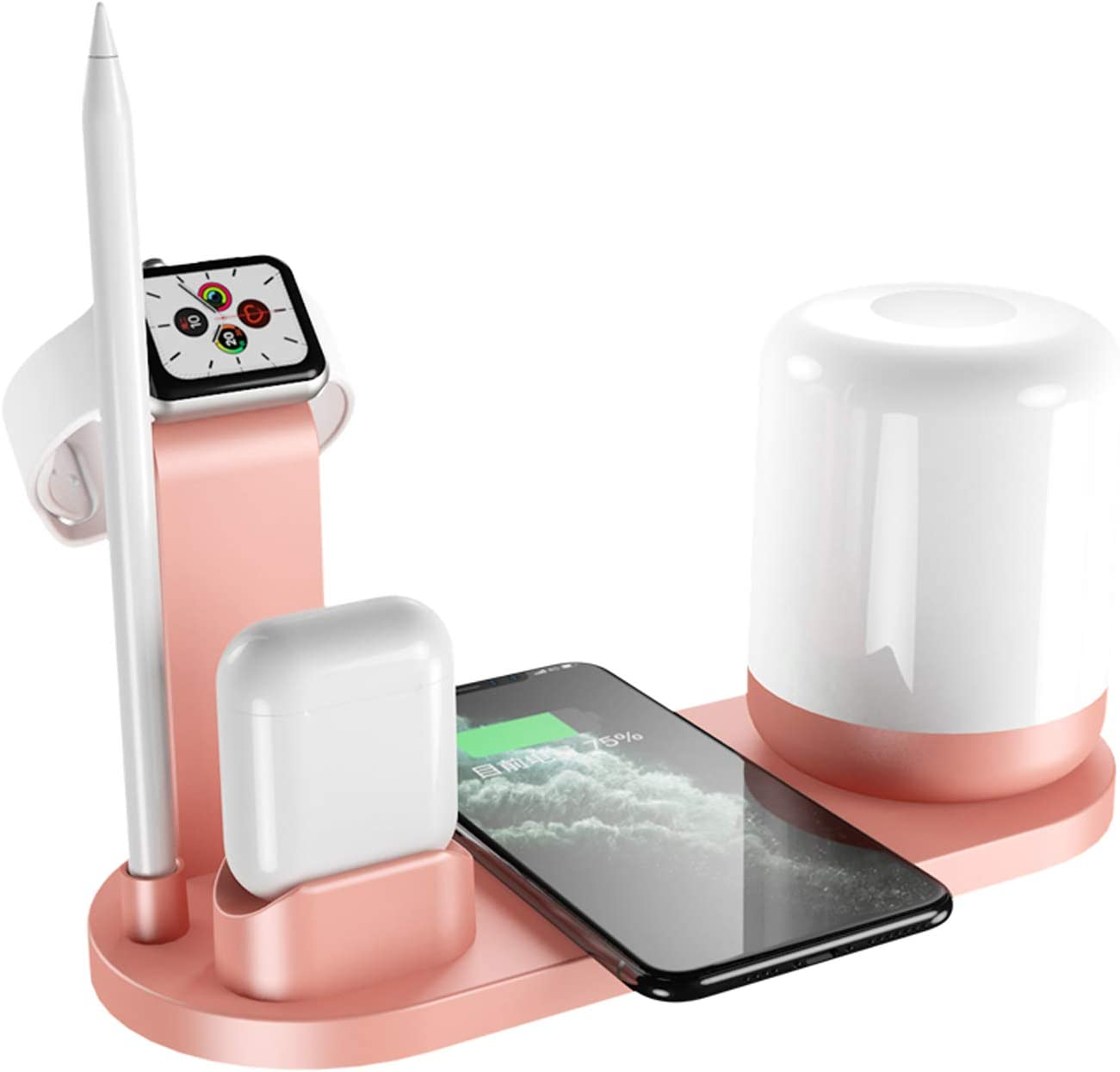 Wireless Charger with Night lamp WS6, QI-Certified Wireless Charging Station for Apple Airpods/Watch/Pencil, iPhone and Galaxy Series. Creative Design for Multiple Functions_Pink