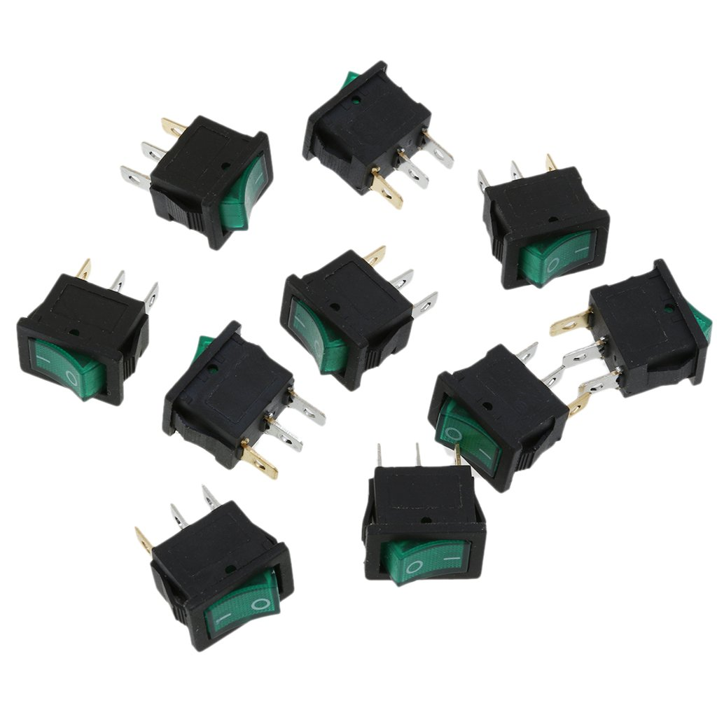 Sharplace Lot de 10pcs Interrupteur /à Bascule 3 Broches on//Off SPST Switch LED T/émoin 10A 250V pour Voiture Bateau Moto Rouge