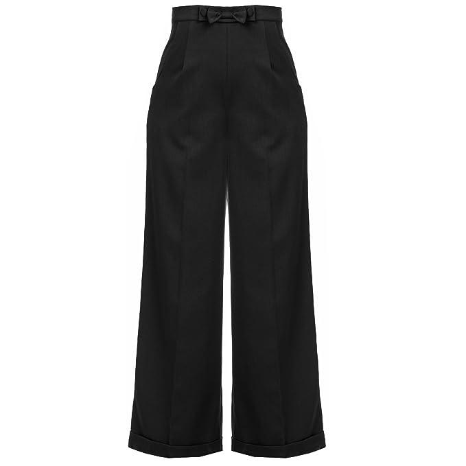 Mujer 1940s Estilo Retro Vintage Swing Pantalones Pernera Ancha Cintura Alta Pantalón Largo: Amazon.es: Ropa y accesorios