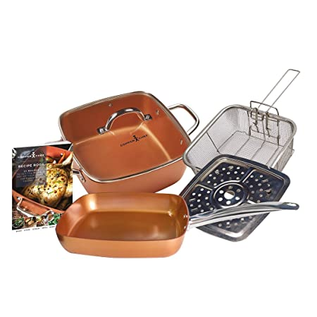 Large Deep Sided Non-stick Copper 24cm Square Pan Kit Glass Lid Oven Safe 5pc Easy To Use Cookware, Dining & Bar