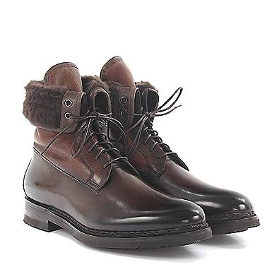 Santoni Stiefeletten Boots Leder braun poliert Lammfell