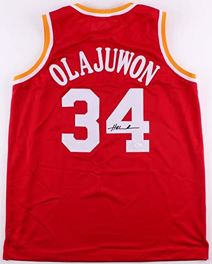 sports shoes 8930a b1bbd Hakeem Olajuwon Autographed Red Houston Rockets Jersey ...
