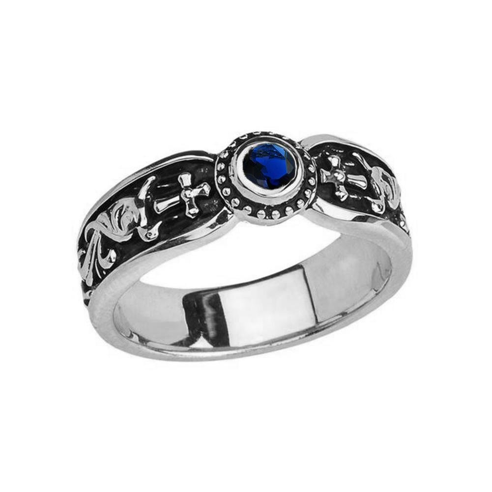 Fine 14k White Gold September Birthstone Solitaire Vintage Sideway Cross Wedding Band (Size 8) by Modern Contemporary Rings (Image #1)