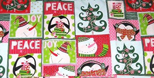 Penguin Snowman Peace Joy Christmas Vinyl Flannel Back Tablecloth 52
