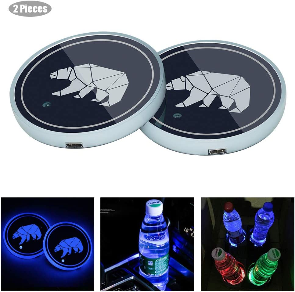 BALMOST LED Car Cup Holder Lights, 7 Colors Changing USB Charging LED Coaster Luminescent Cup Pad, Interior Atmosphere Lamp Decoration Light (2 PCS)