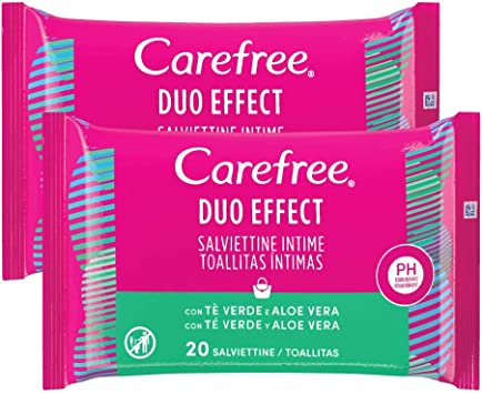Carefree Toallitas Intimas Te Verde y Aloe 2 x 20 unidades 190 g ...