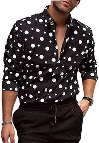 Camisas de Lunares para Hombre Camisa Estampada de Manga Larga Camisa Casual Tops Patrón único: Amazon.es: Ropa y accesorios
