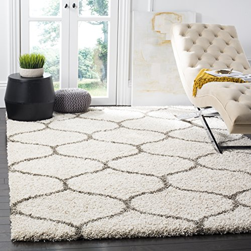 Safavieh Hudson Shag Collection SGH280A Ivory and Grey Moroccan Ogee Plush Square Area Rug (8' Square) (Ivory Rug Square 8)