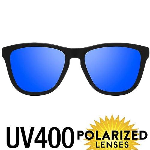 Summer 2017 Polarised Sunglasses – Timeless Design – Ultralight & Resistant – 100% UV400 Protection – Glare Reduction – Matte Finish Frames – Available in 4 Colours – Unisex (Black) (Blau)