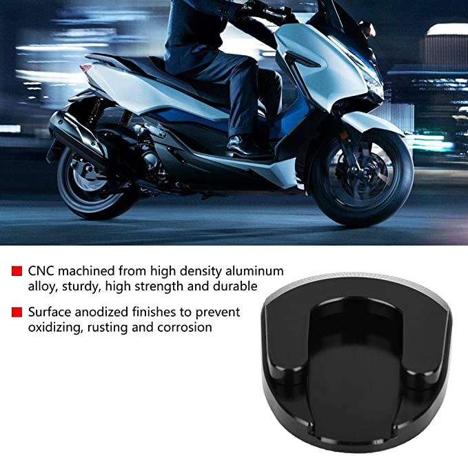 Kimiss Motorrad Kickstand Vergrößerungsdeckel Aluminium Rutschfeste Seitenplatte Forza Seitenständer Pad 300 18 19 Schwarz Auto