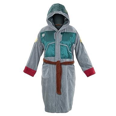 Star Wars Adult Terry Cloth Hooded Bath Robe (Grey Boba Fett) at ...