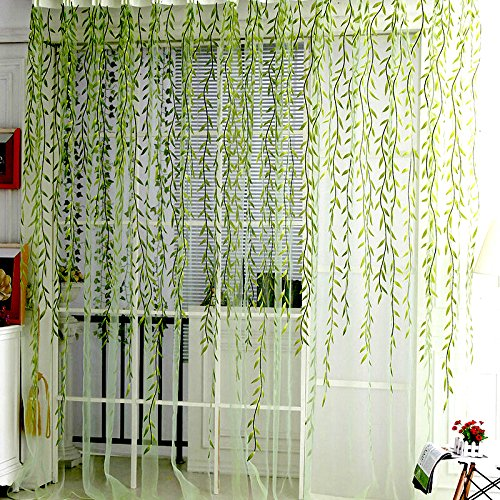 "Willow Voile Tulle Window Curtain 78"" x 39"" Sheer Window Voile Panel Drapes Curtain Green Voile"