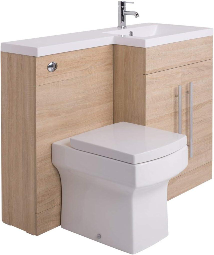 Aquariss Designer RH Oak Combi Bathroom Vanity Unit with Basin + Back To Wall Boston Toilet
