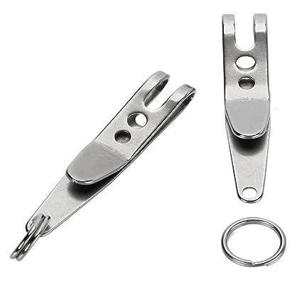 SODIAL 2pzs Clip de suspension EDC multiusos Llavero anillo de llave sostenedor de percha de apuntar rapido Herramienta de deportes al aire libre