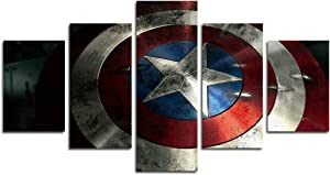 AtfArt 5 Piece Captain America Shield Painting for Living Room Home Decor Canvas Art Wall Poster (No Frame) Unframed HB44 50 inch x30 inch...