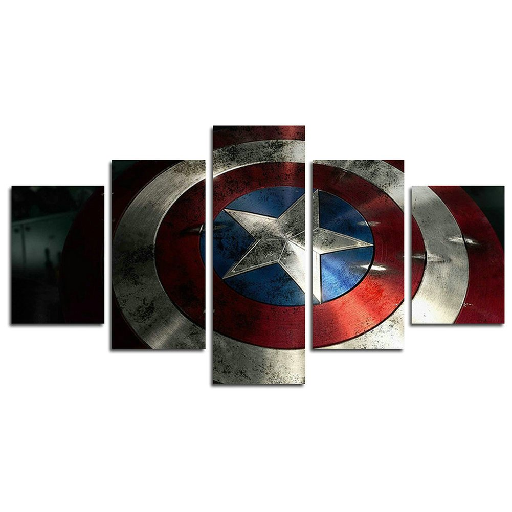 AtfArt 5 Piece Captain America shield painting for living room home decor Canvas art wall poster (No Frame) Unframed HB44 50 inch x30 inch by AtfArt