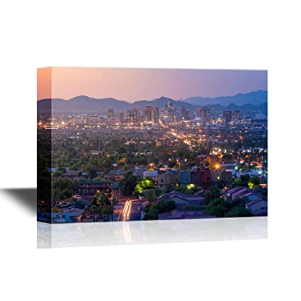 wall26 - USA City Skyline Canvas Wall Art - Top View of Downtown Phoenix Arizona at