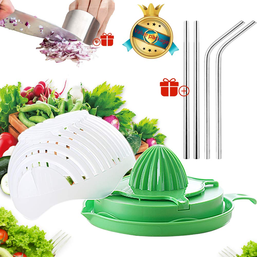 Salad Cutter Juicing bowl,Fruit And Vegetable Salad Chopper Bowl,Easy Salad Juice Maker,Salad Slicer,Gift Cut Vegetable Hand Guard And Stainless Steel Straws, Two People Sizes by BOHAI