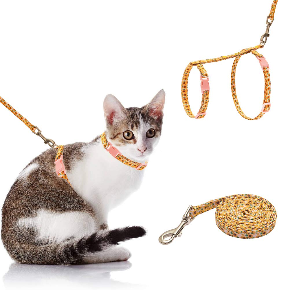 SCIROKKO Cat Harness with Leash Set – Escape Proof and Adjustable for Walking – Cute Fabric with Sunflower Pattern