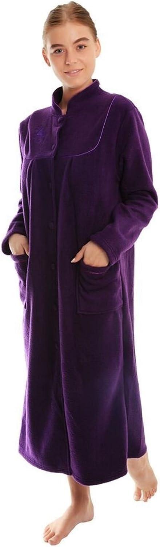 undercover lingerie Ladies Button Front Soft Fleece Dressing Gown 4073 [14/16,Damson]