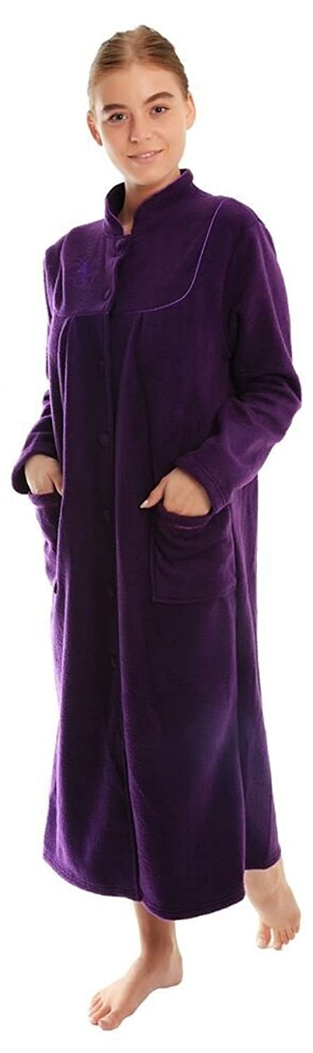 Ladies Button Front Soft Fleece Dressing Gown 4073 [22/24,Damson]