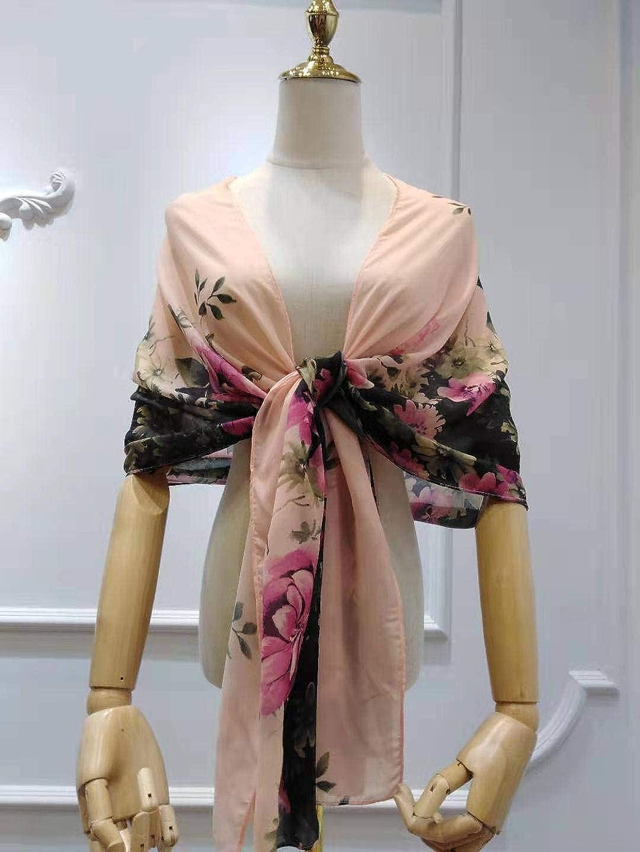 Ovender/® Stola da Combinare Abito da Cerimonia Donna in Chiffon Damigella da Festa Party Lungo Elegante Floreale