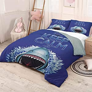 HELLOLEON (King) Sea Animals Pure Bedding Hotel Luxury Bed Linen Keep Calm and Shark Jaws Attack Predators Hunter Dangerous Wild Aquatic Nature Polyester - Soft and Breathable Blue White
